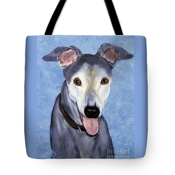 Tote Bag featuring the painting Eddie - Greyhound by Terri Mills