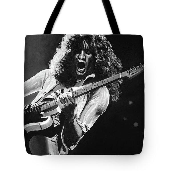 Eddie Van Halen - Black And White Tote Bag
