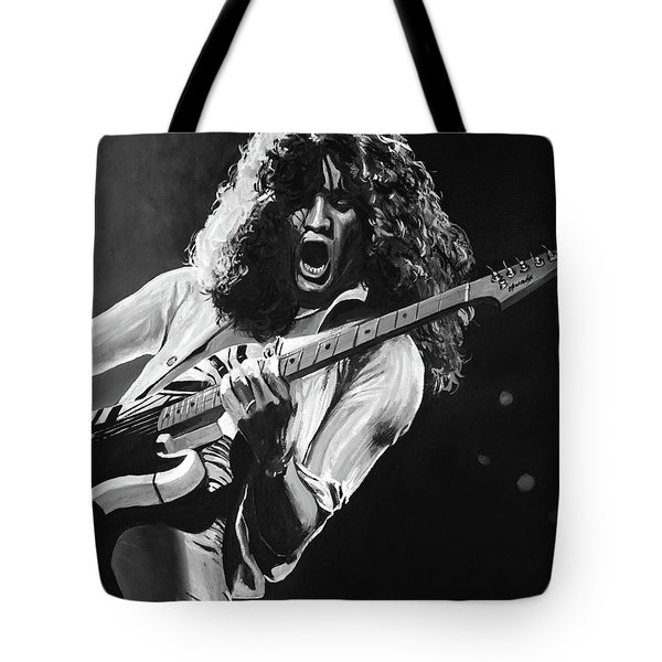 Eddie Van Halen - Black And White Tote Bag by Tom Carlton
