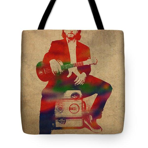 Eddie Vedder Pearl Jam Watercolor Portrait Tote Bag