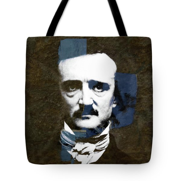 Tote Bag featuring the mixed media Edgar Allan Poe  by Paul Lovering