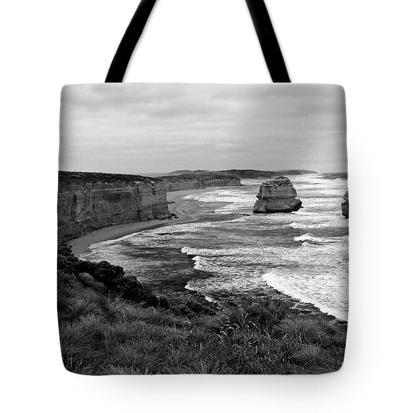 Edge Of A Continent Bw Tote Bag