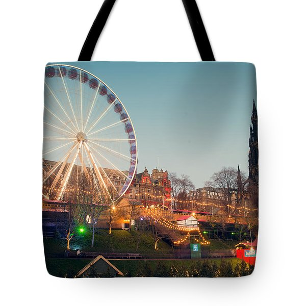 Edinburgh And The Big Wheel Tote Bag
