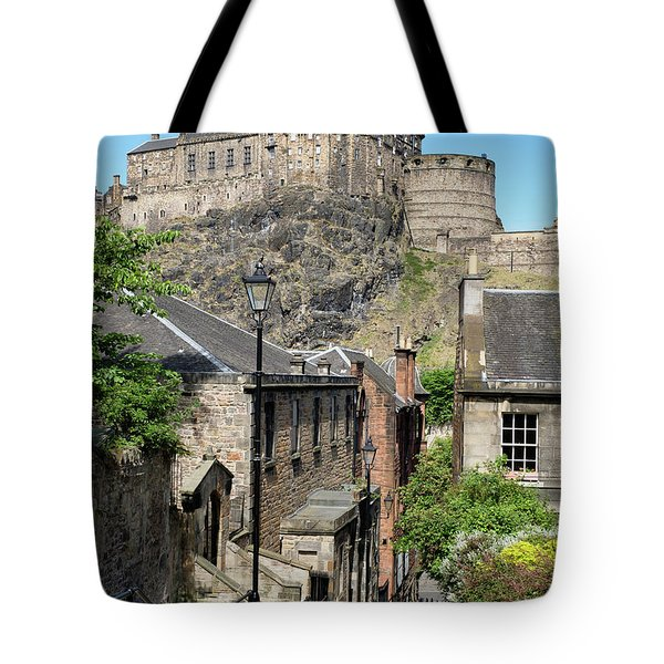 Tote Bag featuring the photograph Edinburgh Castle From The Vennel by Jeremy Lavender Photography