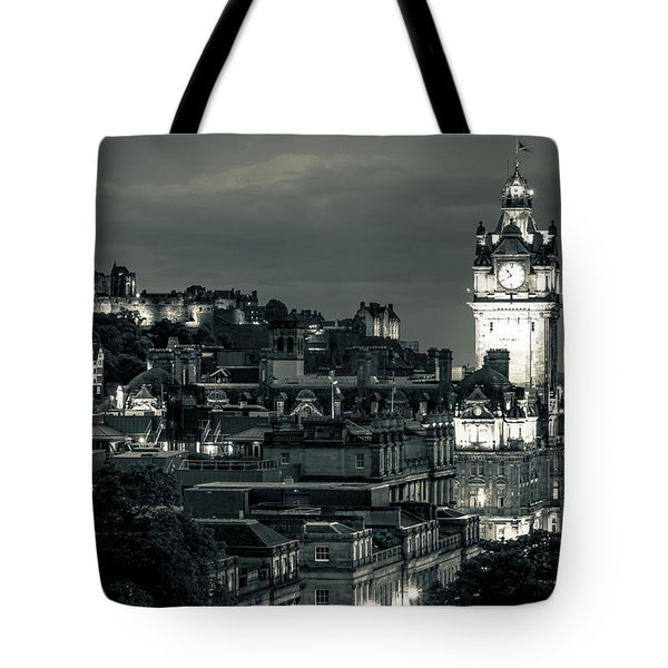 Edinburgh In Black And White Tote Bag