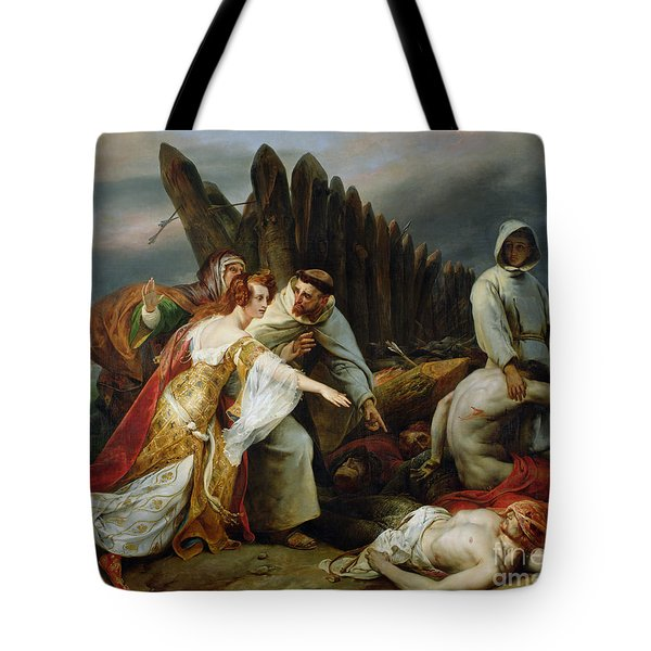Edith Finding The Body Of Harold Tote Bag by Emile Jean Horace Vernet