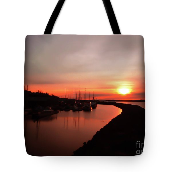 Tote Bag featuring the photograph Edmonds Washington Boat Marina At Sunset by Eddie Eastwood