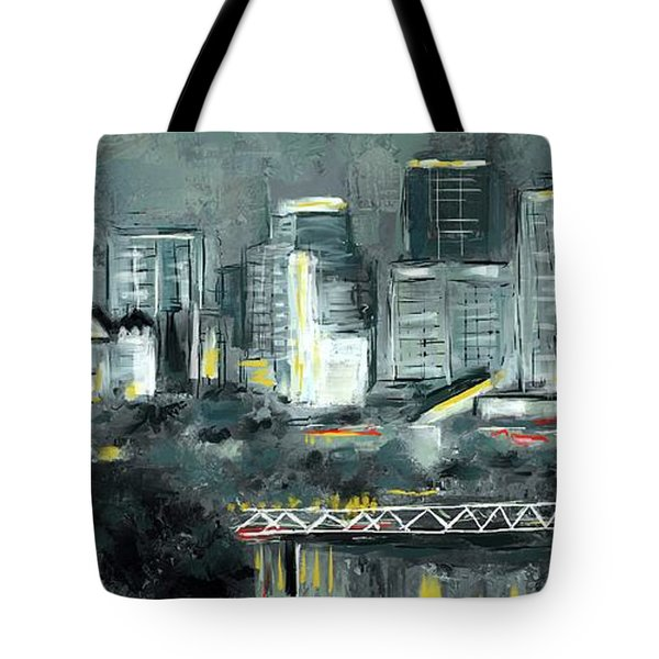 Tote Bag featuring the mixed media Edmonton Cityscape Painting by Eduardo Tavares