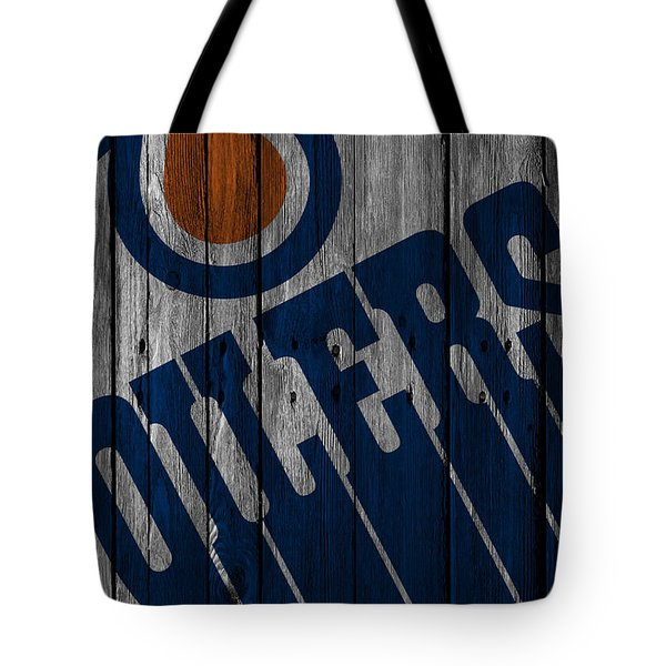 Edmonton Oilers Wood Fence Tote Bag
