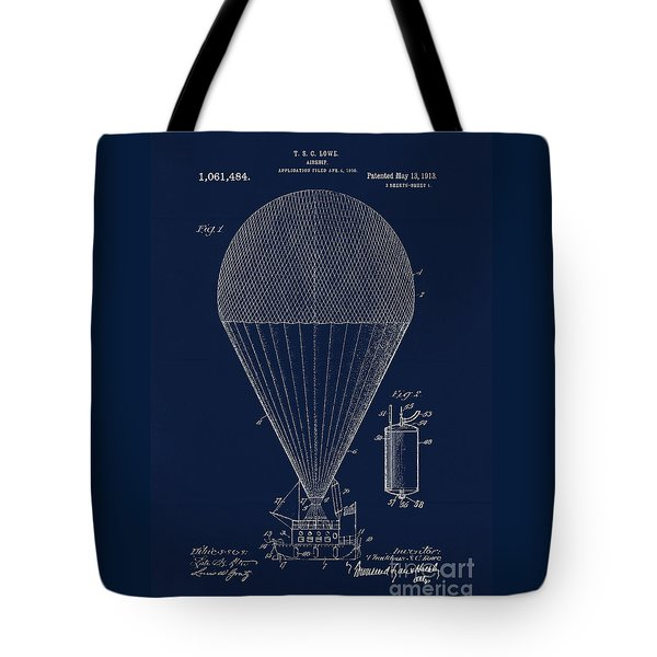 Edwardian Age Airship Blueprint Patent Drawing, Steampunk Tote Bag