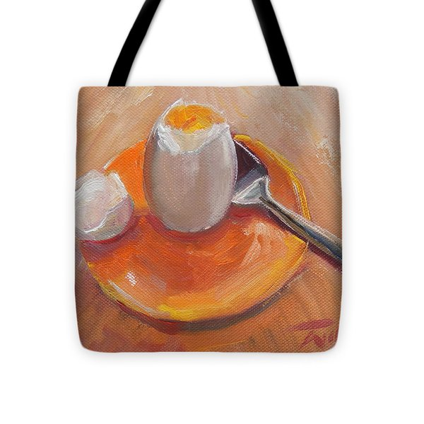 Egg And Spoon Tote Bag by Ron Wilson