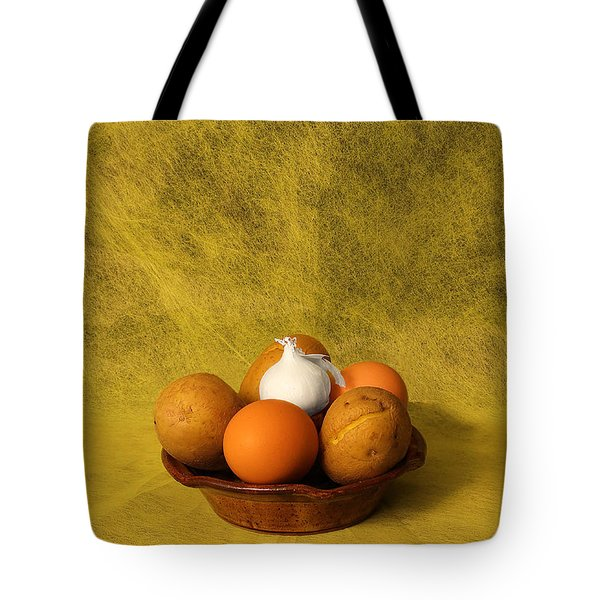 Tote Bag featuring the photograph Egg Potato And Onion by Viktor Savchenko