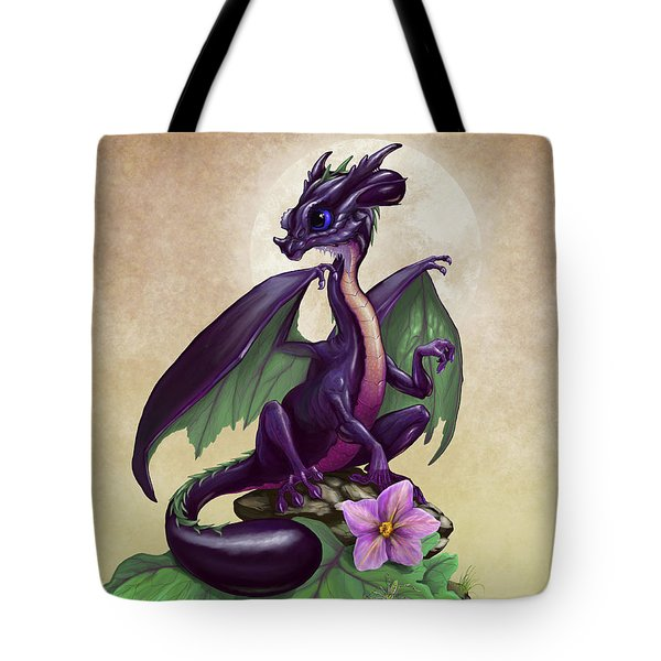 Tote Bag featuring the digital art Eggplant Dragon by Stanley Morrison