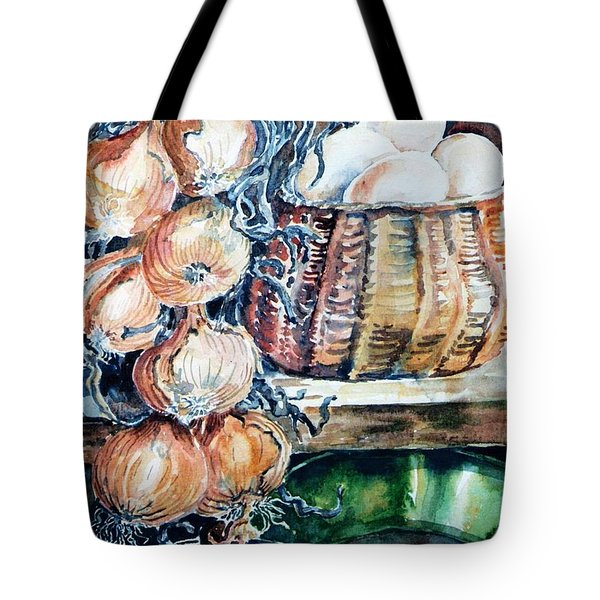 Tote Bag featuring the painting Eggs And Onions In The Larder  by Trudi Doyle