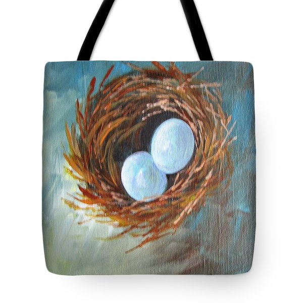 Tote Bag featuring the painting Eggs In A Nest by Gloria Turner