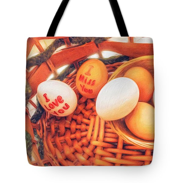 Eggs In A Wooden Basket Tote Bag