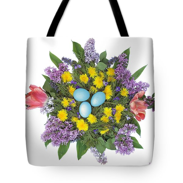 Eggs In Dandelions, Lilacs, Violets And Tulips Tote Bag