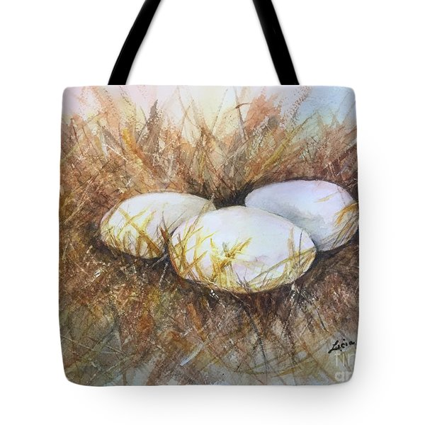 Eggs On Straw Tote Bag