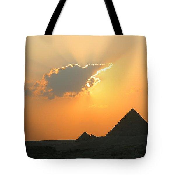 Egpytian Sunset Behind Cloud Tote Bag