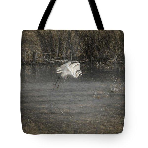 Egret 2 Tote Bag by Travis Burgess