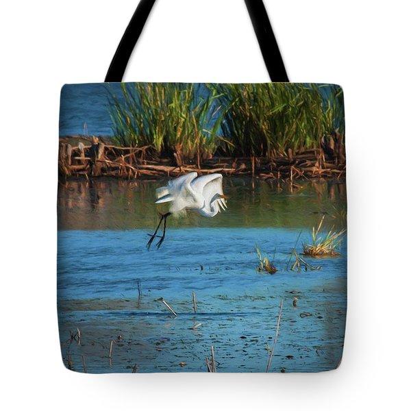 Egret 3 Tote Bag by Travis Burgess