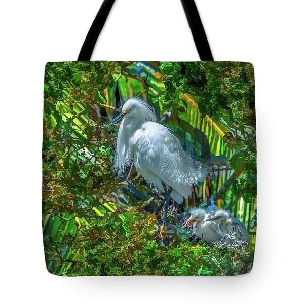 Egret And Chicks Tote Bag