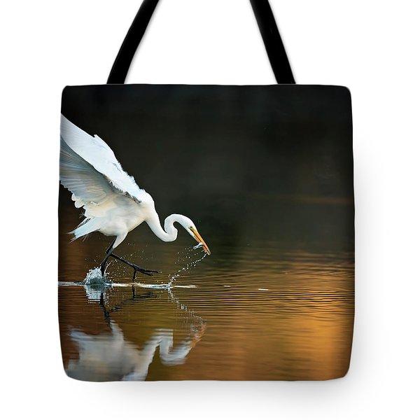 Egret At Sunset Tote Bag