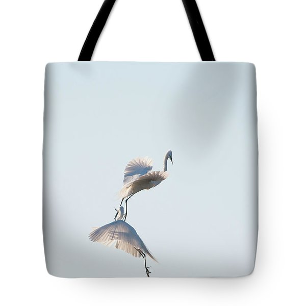 Egret Dance 2 Tote Bag by Catherine Lau