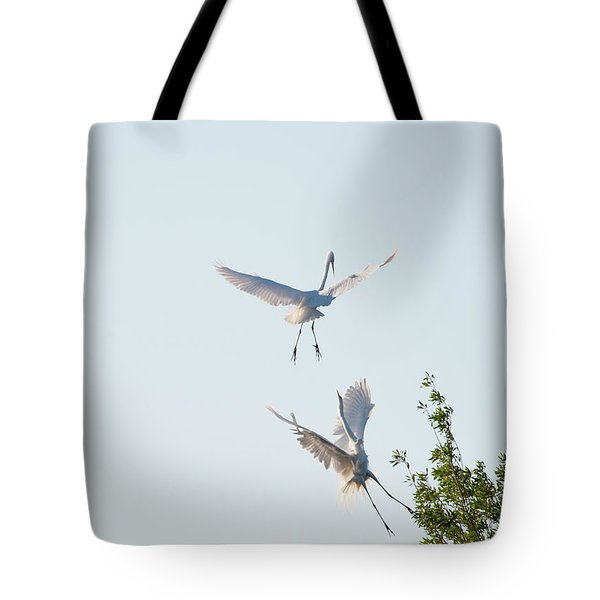 Egret Dance Tote Bag by Catherine Lau