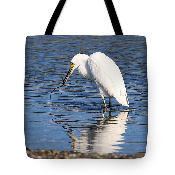 Tote Bag featuring the photograph Egret Eating Eel 4 by William Selander