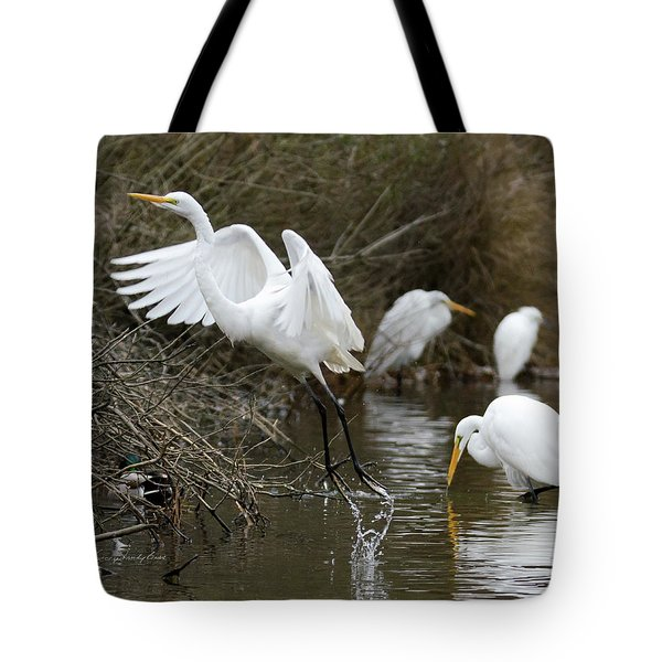 Tote Bag featuring the photograph Egret Exit by George Randy Bass