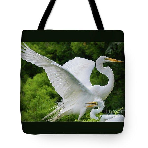 Egret Family Tote Bag
