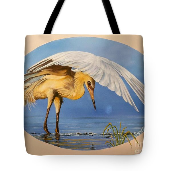 Chloe The  Flying Lamb Productions                  Egret Fishing Tote Bag