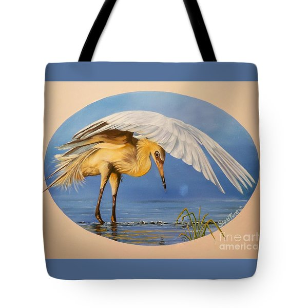 Flying Lamb Productions                  Egret Fishing Tote Bag