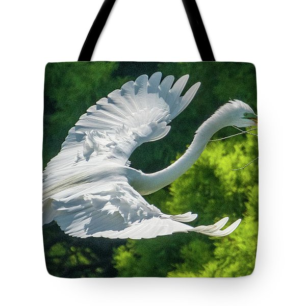 Egret Flying With Twigs Tote Bag