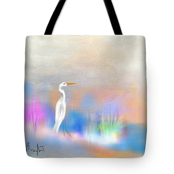 Egret Grace Abstract Tote Bag by Frank Bright