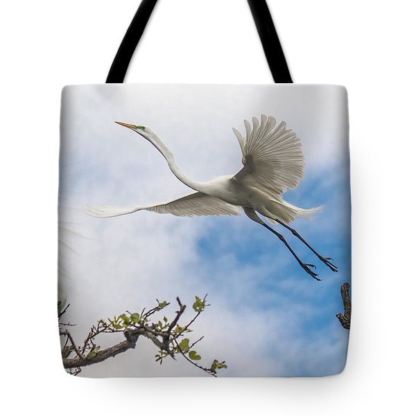 Egret Grace Tote Bag by Kelly Marquardt