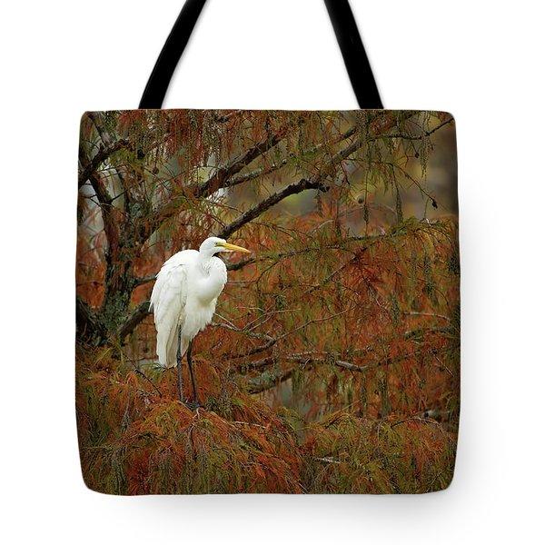Egret In Autumn Tote Bag