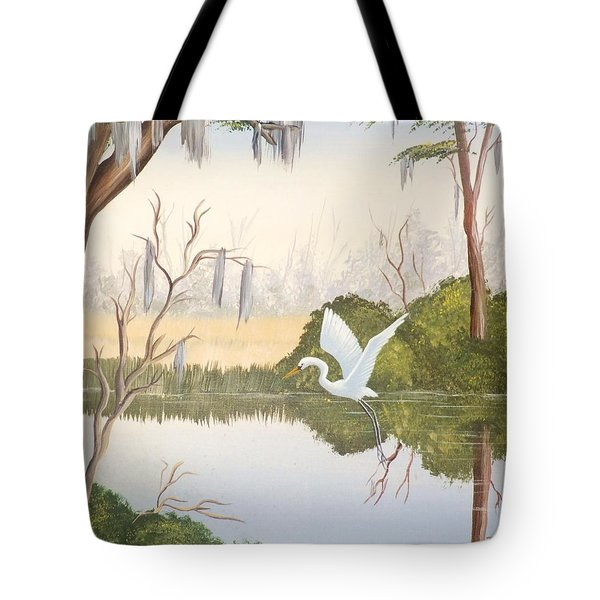 Egret In Flight 1 Tote Bag