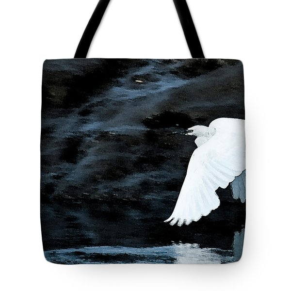 Egret In Flight Tote Bag by Brian Roscorla