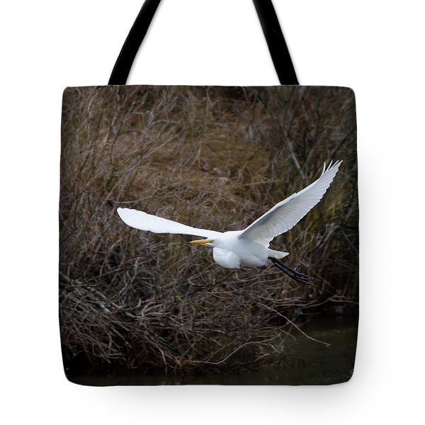 Tote Bag featuring the photograph Egret In Flight by George Randy Bass