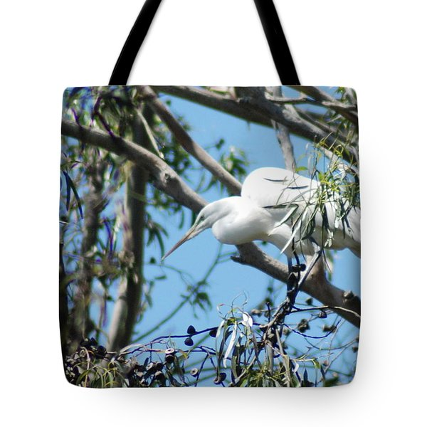 Egret In Rookery Tote Bag