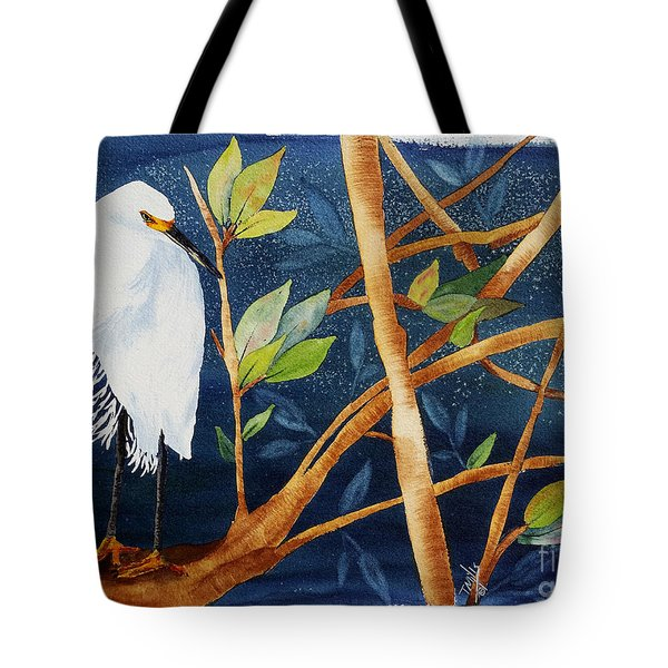 Egret In The Mangroves  Tote Bag