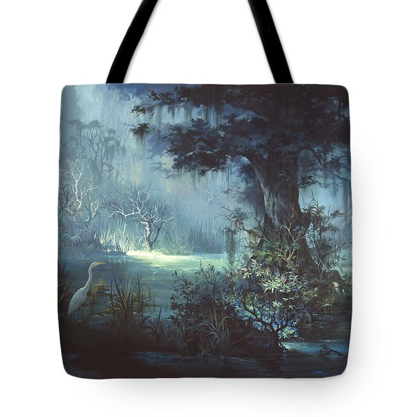 Egret In The Shadows Tote Bag