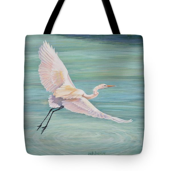 Tote Bag featuring the painting Egret by Jeanette Jarmon