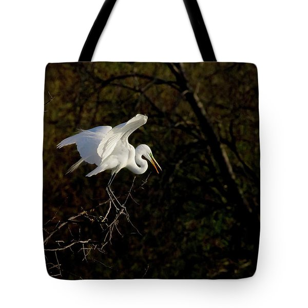Egret Tote Bag by Kelly Marquardt