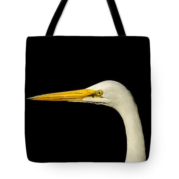 Egret On Black Tote Bag