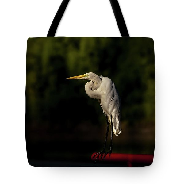 Tote Bag featuring the photograph Egret On Deck Rail by Robert Frederick
