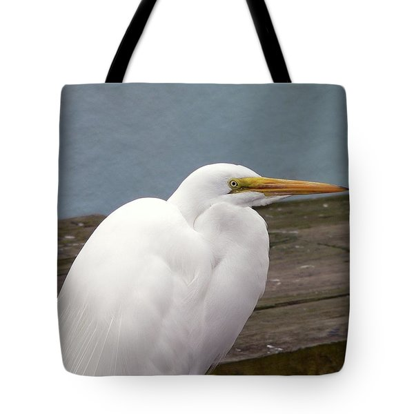 Egret On The Dock Tote Bag by Al Powell Photography USA