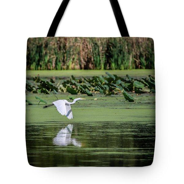 Egret Over Wetland Tote Bag